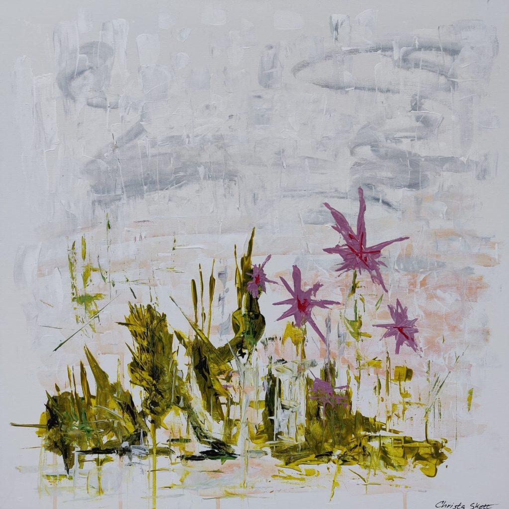 Abstrakt maleri olivengrøn og pink